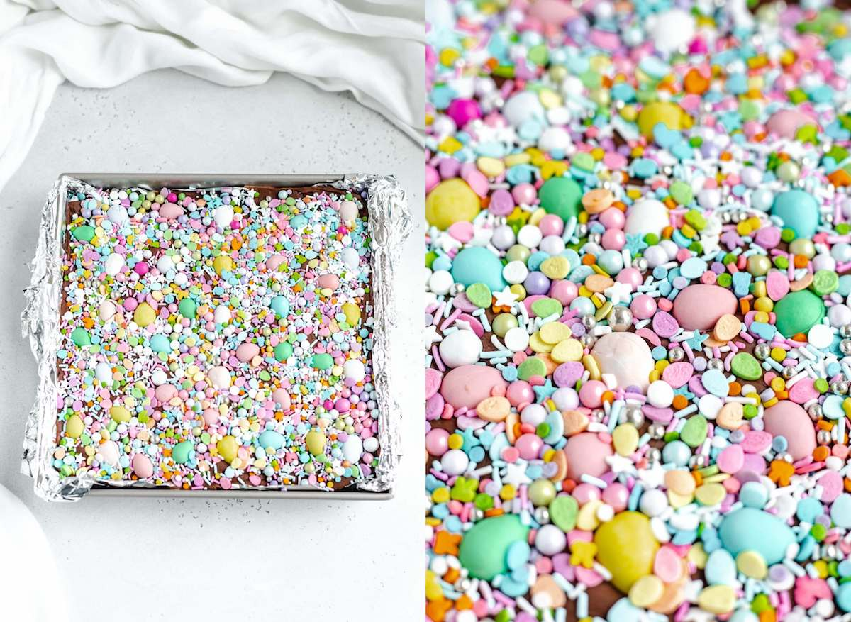 close up photos of spring coloured sprinkles and candy on top of fudge