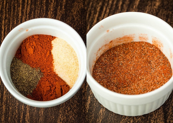 Salt, Pepper, Garlic Powder, Hot Chilli Powder and Smoked Paprika seasoning blend
