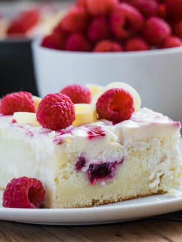 White Chocolate Raspberry Poke Cake