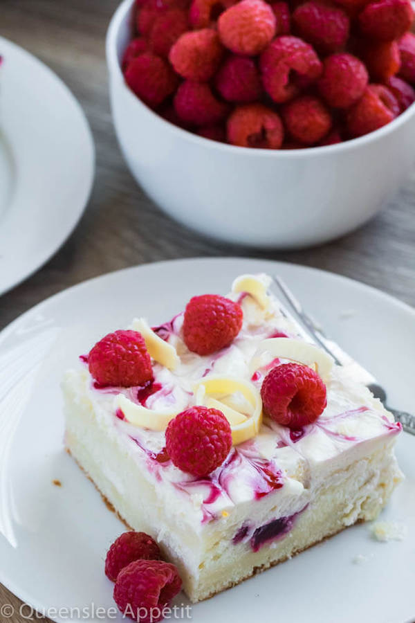 White Chocolate Raspberry Poke Cake