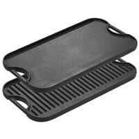 "Lodge LPGI3 Pro-Grid Cast Iron Reversible 20"" x 10"" Grill/Griddle Pan with Easy-Grip Handles 10"" x 20"""