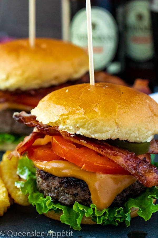 beer burgers with beer cheese sauce and brioche buns