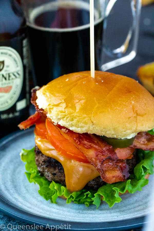 beer burgers with beer cheese sauce