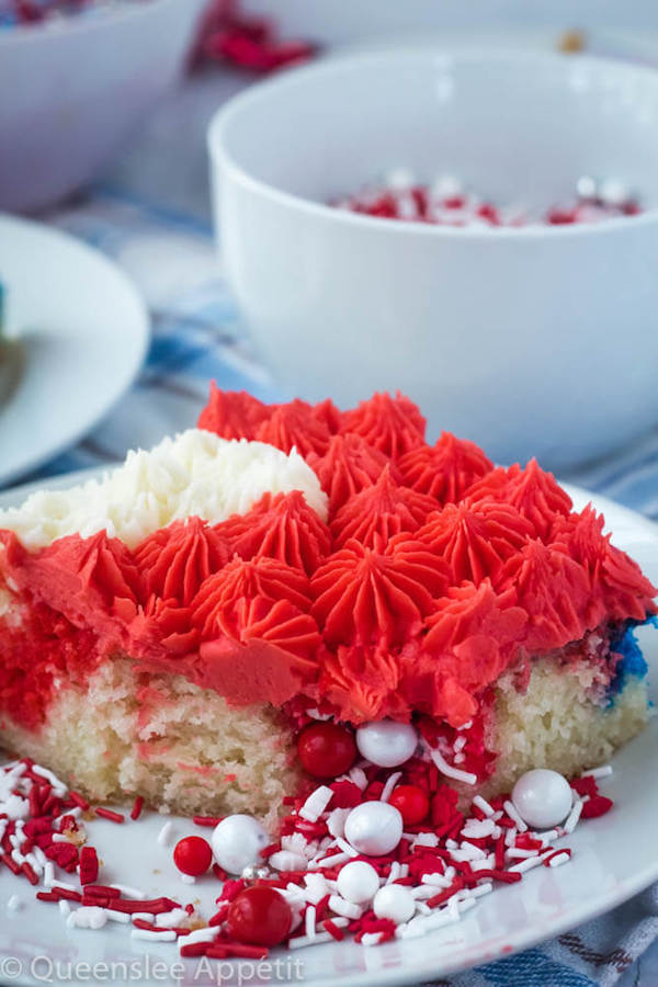 Canada day flag sheet cake with surprise sprinkle filling