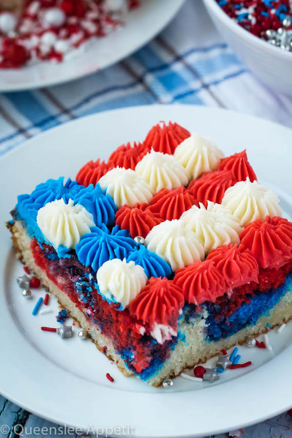 American flag sheet cake slice