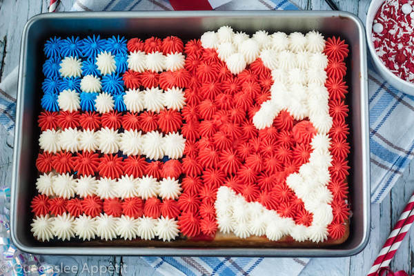 American and Canadian flag sheet cake