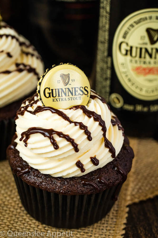Guinness Chocolate Cupcakes with Baileys Buttercream Frosting, Guinness ganache drizzle and beer bottle cap on top
