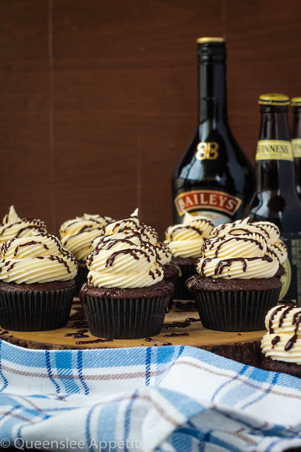 Guinness Chocolate Cupcakes with Baileys Buttercream Frosting, Guinness ganache drizzle