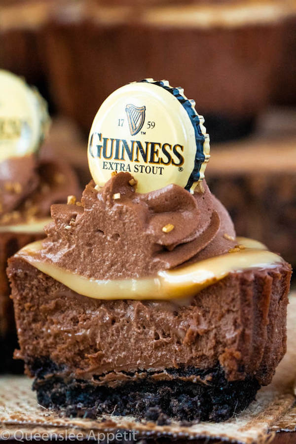 Mini Guinness Chocolate Cheesecakes with White Chocolate Baileys Ganache and Guinness Chocolate Whipped Cream