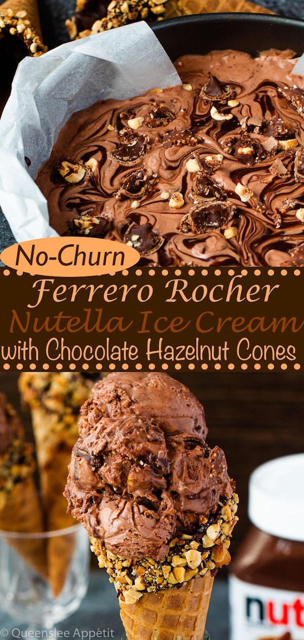 No-Churn Ferrero Rocher Nutella Ice Cream