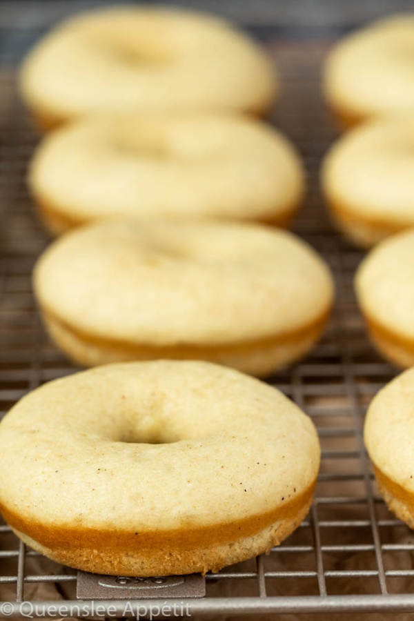 Moist and fluffy baked vanilla donuts