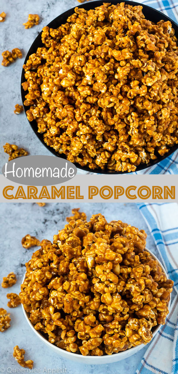 This Homemade Caramel Popcorn is made with a delicious homemade caramel sauce for a sweet, buttery, crunchy and fun snack that's far better than the store-bought version!