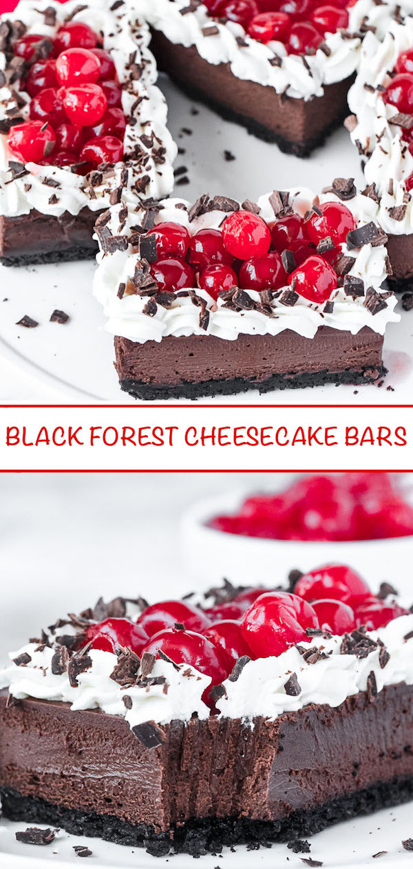 Black Forest cheesecake bars Pinterest image