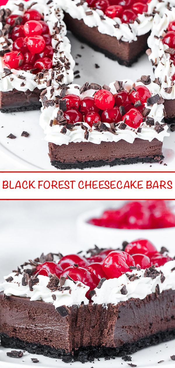 Black Forest cheesecake bars Pinterest image