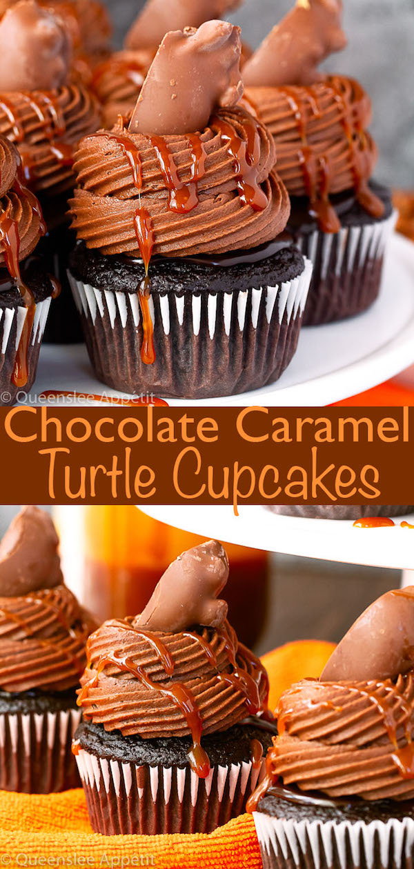 chocolate caramel turtle chocolate cupcakes