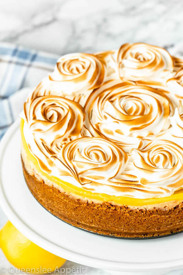 This Lemon Meringue Cheesecake is made with a rich and creamy lemon cheesecake base topped with a tart lemon curd and fluffy meringue. If you're looking for the ultimate lemon dessert, look no further!