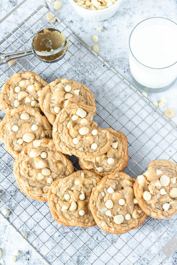 soft and chewy cookies with white chocolate chips and macadamia nuts