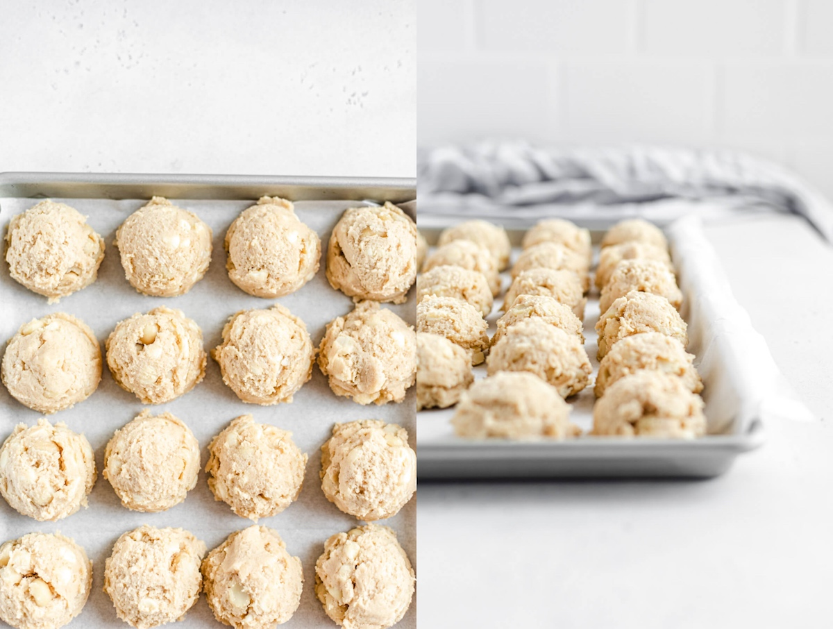 scoops of cookie dough on a parchment lined cookie sheet