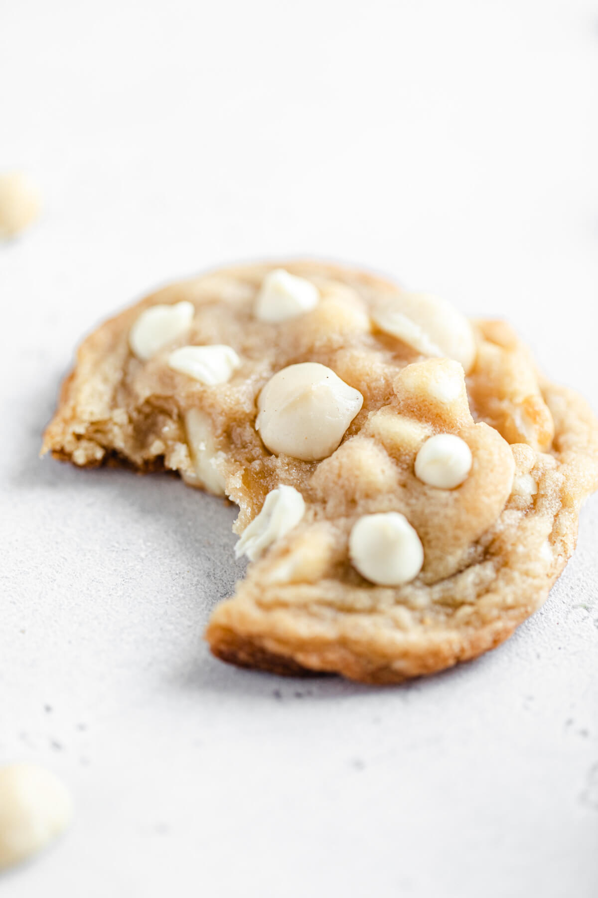 close up of cookie with a bite in it