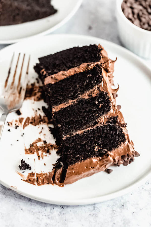 slices of chocolate cake with fudge frosting