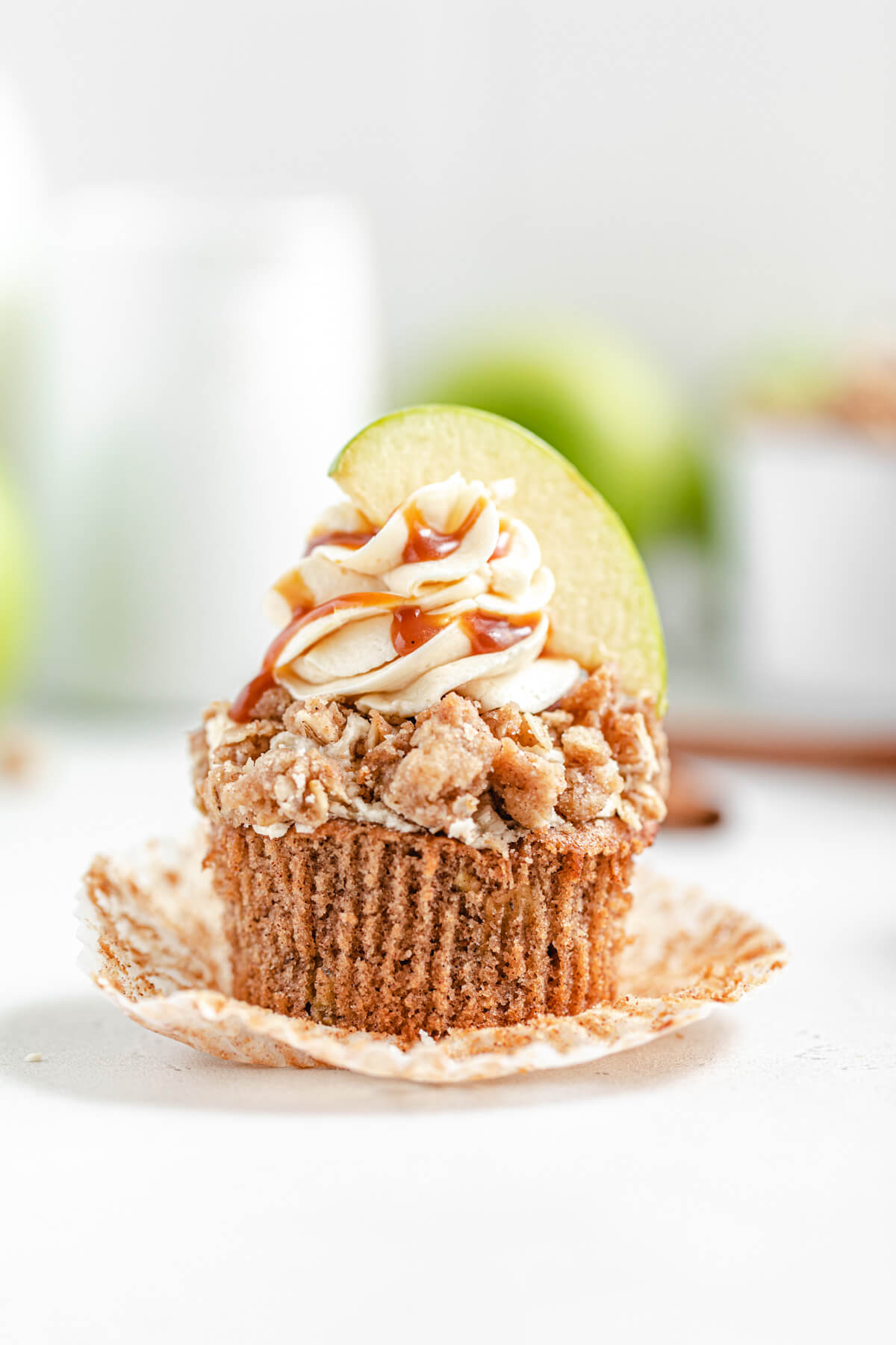 unwrapped apple cupcake