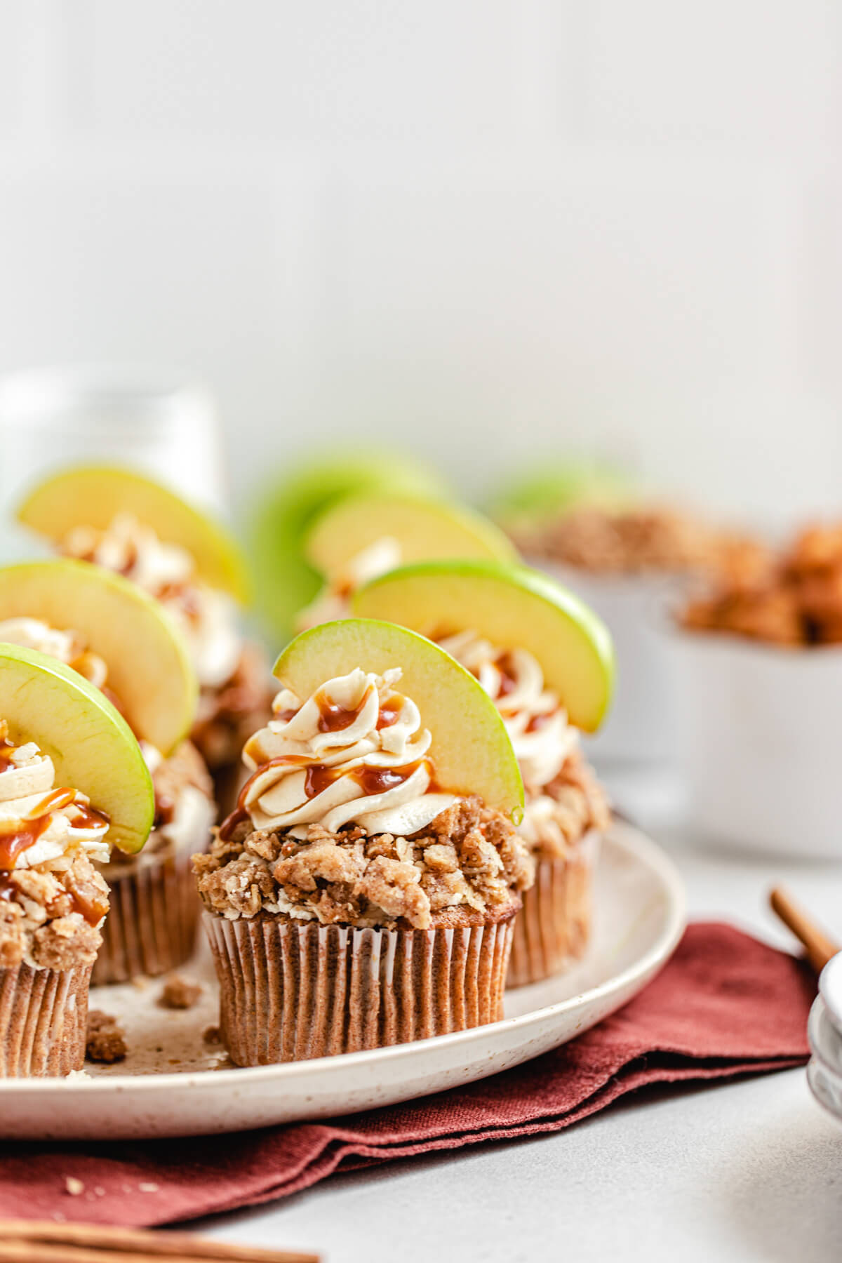 close up of apple cupcakes on a large plate