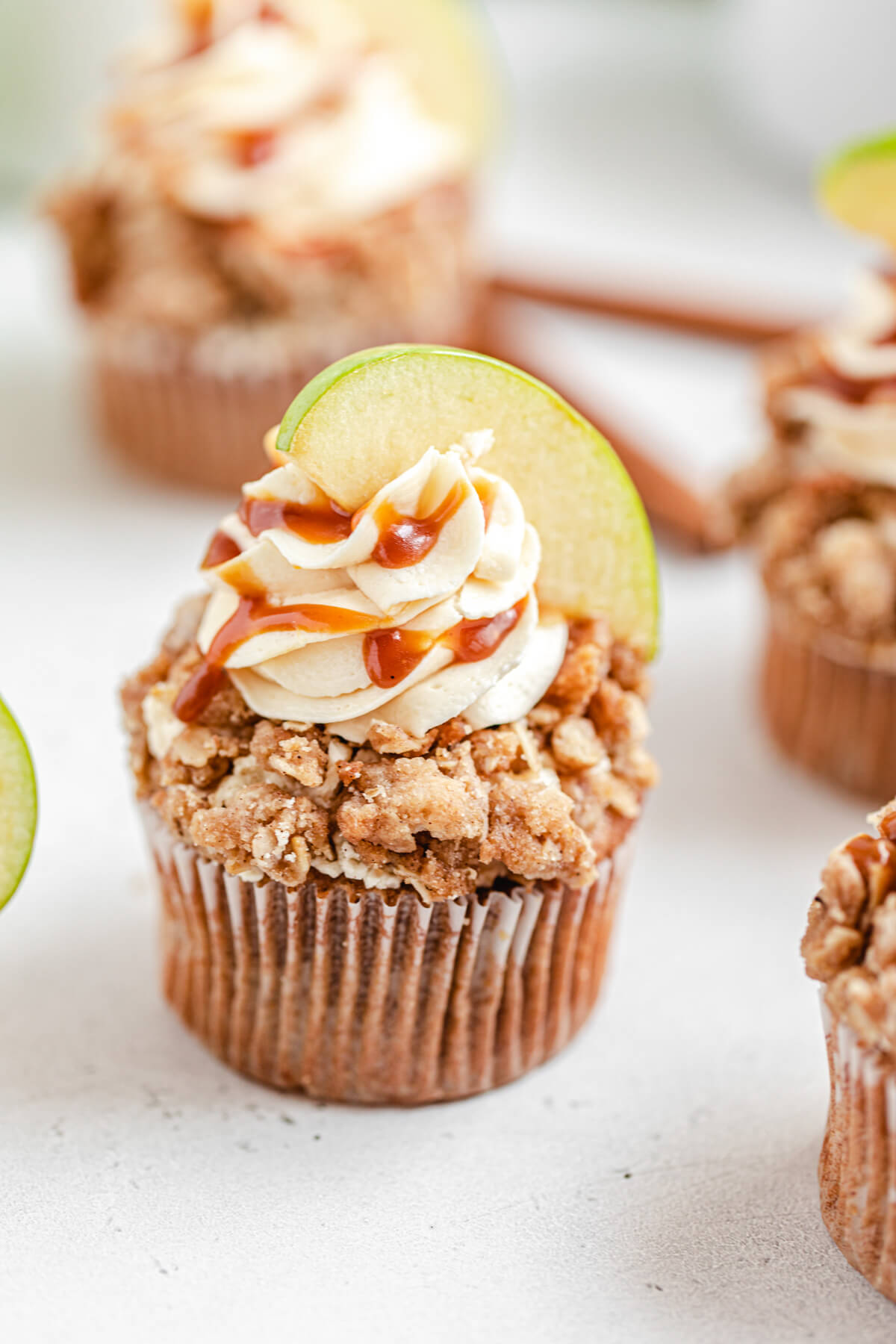angled top view of apple and crumble cupcakes