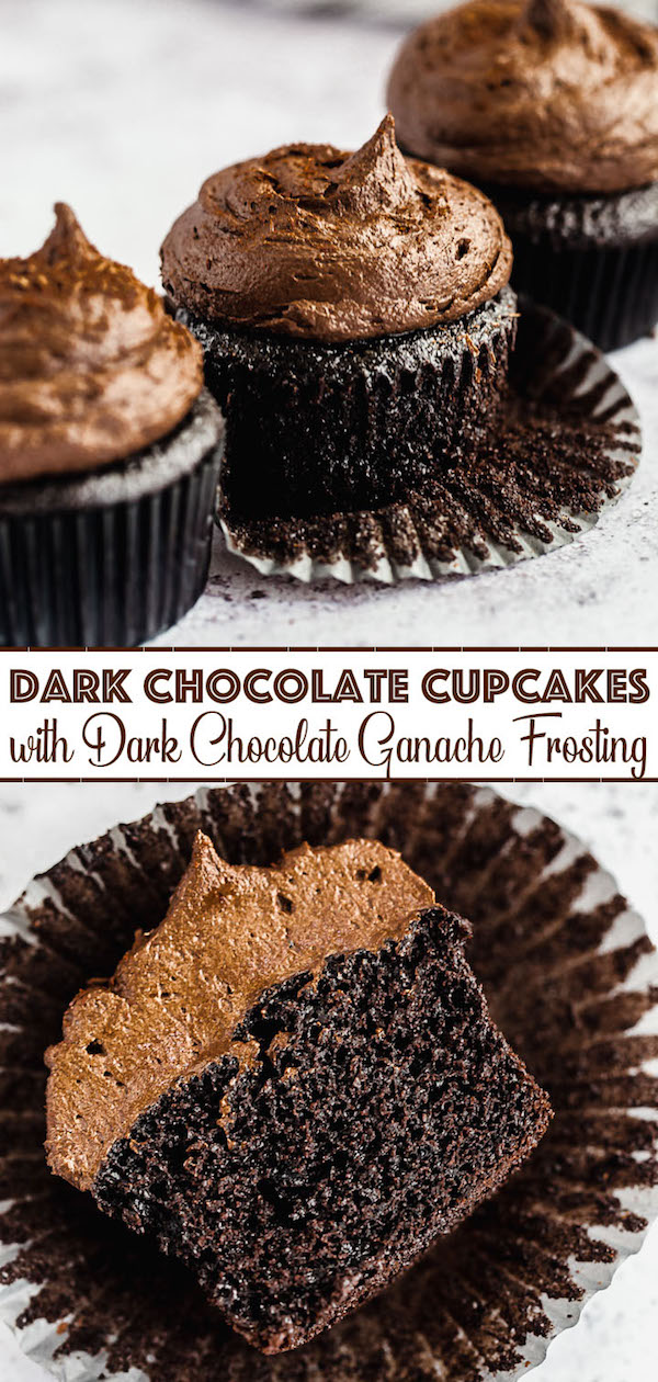 dark chocolate cupcakes topped with dark chocolate ganache frosting