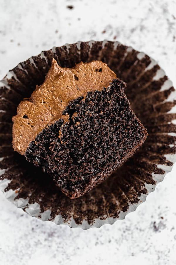 dark chocolate cupcakes topped with dark chocolate ganache frosting