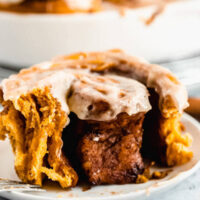 Pumpkin Cinnamon Rolls with Browned Butter Cream Cheese Icing