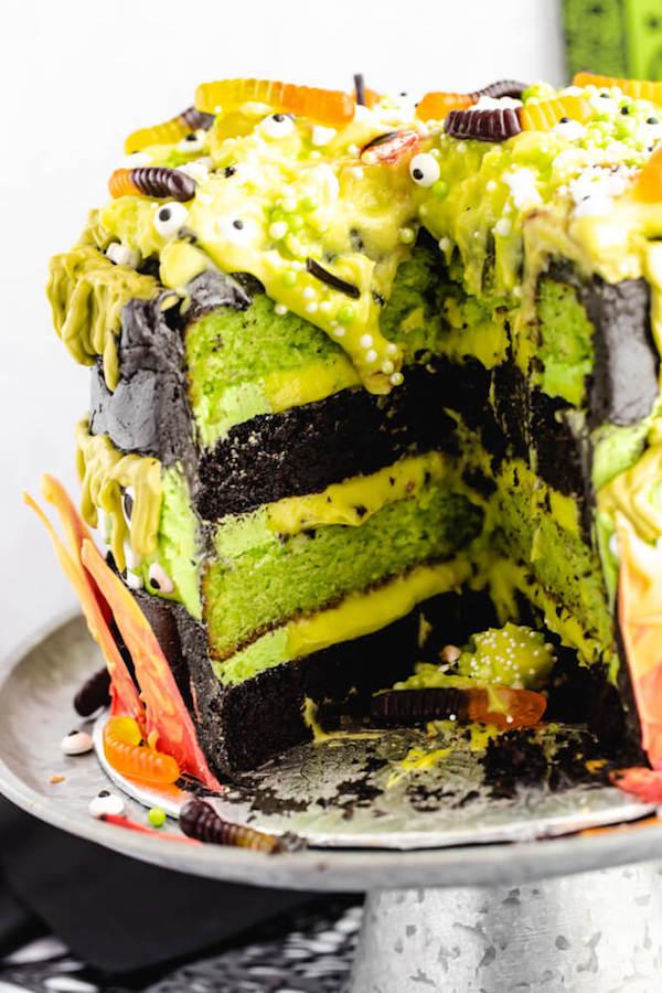 halloween witch's cauldron faultline cake