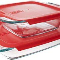 Pyrex Easy Grab Glasbackformen-Set mit roten Deckeln (4-teilig)