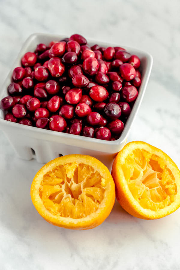 fresh cranberries and squeezed oranges