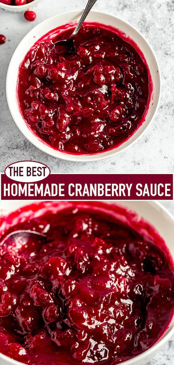 homemade cranberry sauce pin image