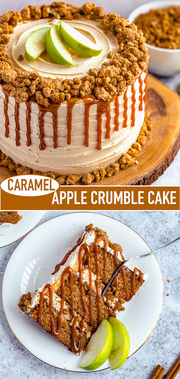 caramel apple crumble cake long pin image