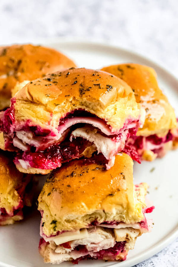 bite out of a turkey cranberry slider