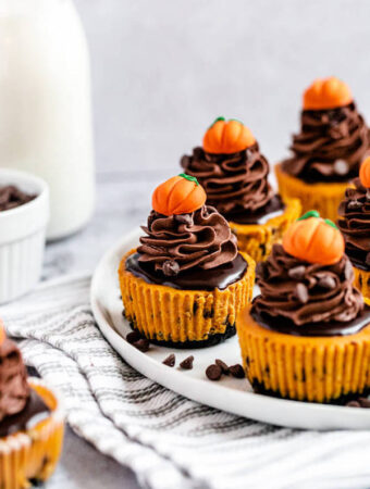 mini pumpkin cheesecakes on a plate that's on a dish towel