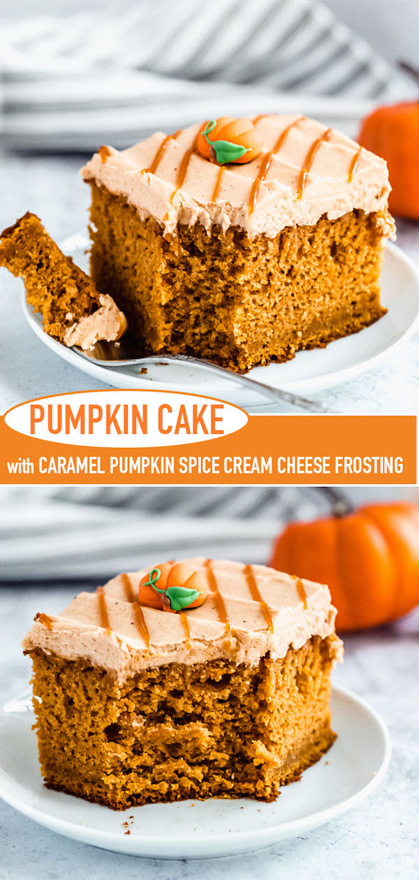 slice of pumpkin cake topped with caramel pumpkin spice cream cheese frosting Pinterest image