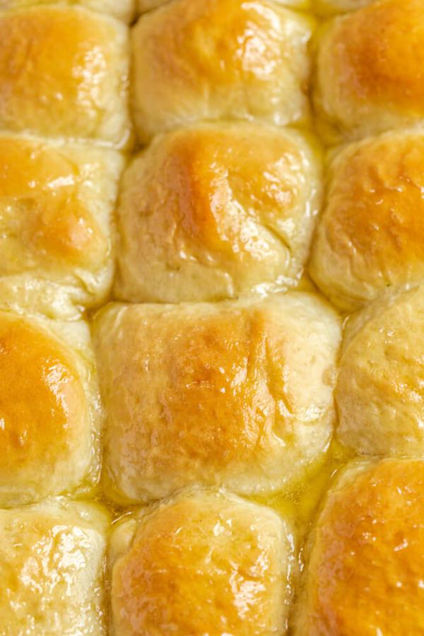 honey butter topped dinner rolls