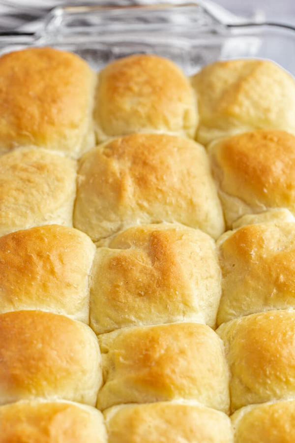 baked dinner rolls in a baking dish