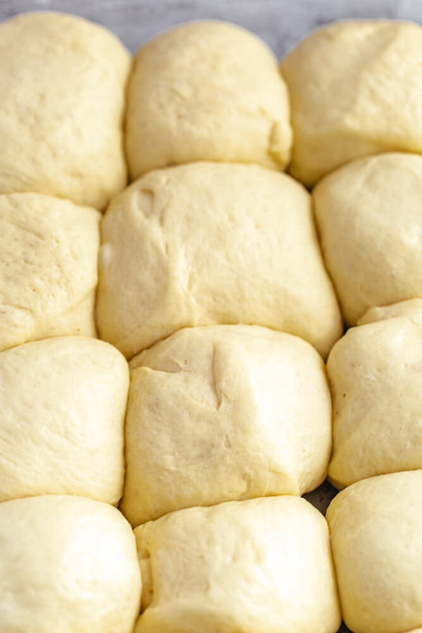 unbaked dinner rolls doubled in size in a baking dish