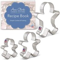 "Ann Clark Cookie Cutters 3-Piece Gingerbread Man Cookie Cutter Set with Recipe Booklet, 2.9"", 3.75"", 5"""