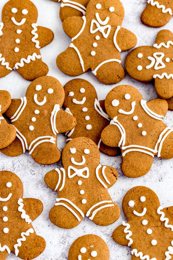 man shaped gingerbread flavoured cookies close together