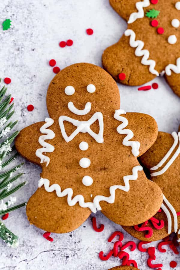 close up of decorated gingerbread man cookie