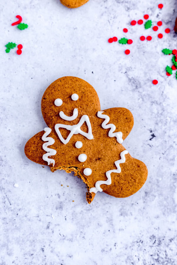 one gingerbread man cookie with the leg bitten off