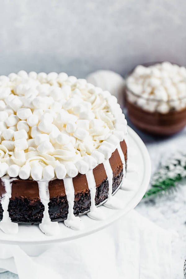 chocolate cheesecake topped with marshmallows sitting on a cake stand