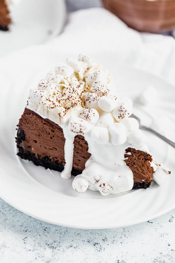 top of a slice of hot chocolate cheesecake