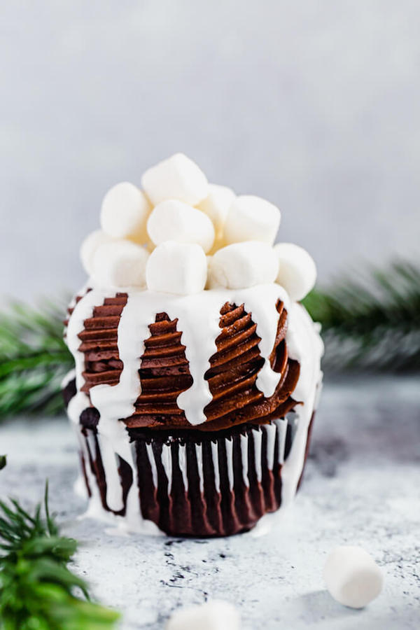 one hot chocolate cupcake with green branches