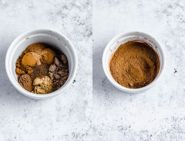 homemade chai spice before and after