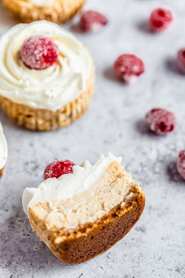 halved mini cheesecake